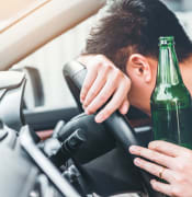 bigstock Drunk Man Driving A Car On The 279591673