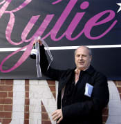 *File image* Frontier Touring Company managing director Michael Gudinski makes an announcement about Kylie Minogue