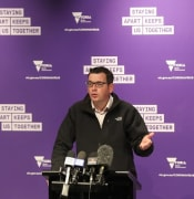 Victorian Premier Daniel Andrews holds a press conference in Melbourne to discuss the latest covid-19 figures. Saturday, July 11, 2020. (AAP Image/David Crosling) NO ARCHIVING