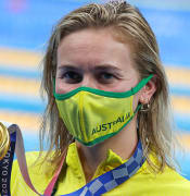 TOKYO, JAPAN - JULY 26, 2021: Gold medalist Ariarne Titmus of Australia at an award ceremony for the women