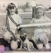 Jeany Micke and Annette McConnell and Chippy the Pug in 1968 Loxton Show