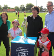 Howzat juliana addison michaela settle ben taylor womens t20 world cup trophy in ballarat jan 2020