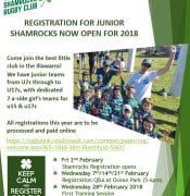 Shamrocks Junior Rugby Registration