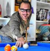 Kirk Pengilly playing pool pic resized cropped 600