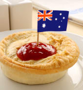 Australian flag on the classic Australian meat pie.