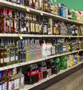 shelves of alcohol