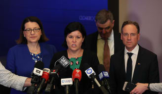 (L-R) Victorian Health Minister Jenny Mikakos, Northern Territory Health Minister Natasha Fyles,  Australian Government Chief Medical Officer Brendan Murphy and Federal Health Minister Greg Hunt speak to the media after a conference of the federal and state and Territory Health Ministers at a COAG meeting in Melbourne, Friday, February 28, 2020. (AAP Image/David Crosling) NO ARCHIVING