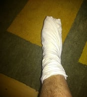 My foot wrapped in footcloth.