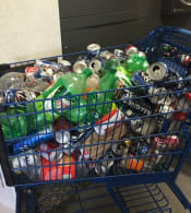 Shopping Cart Full of Returnable Bottles and Cans Recycling Deposit Meijer
