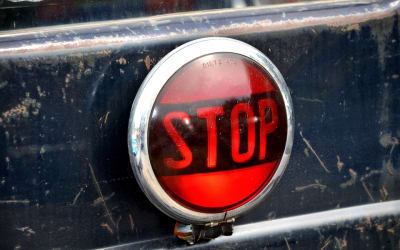 Warning Light, Stop, Warning, Old, Round, Red, Auto