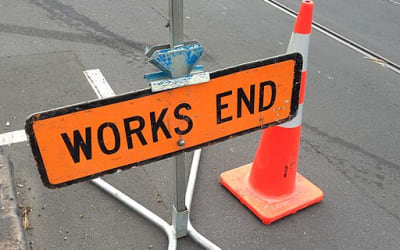 Road works ends sign