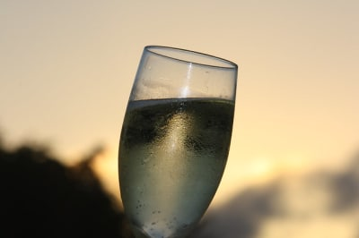 Sparkling wine at sunset