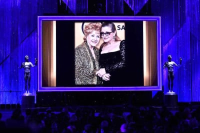 Debbie Reynolds left and Carrie Fisher