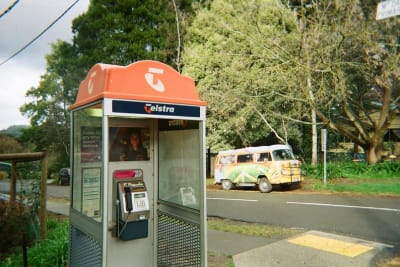 Payphone booth and VW hippie van