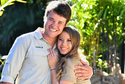 Chandler Powell (left) and Bindi Irwin (right) are seen together at Bindi
