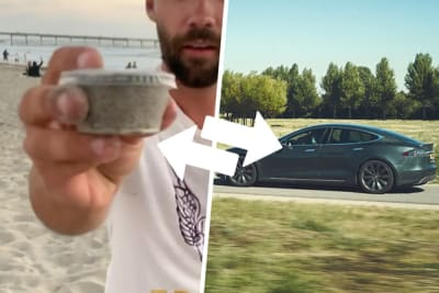 trading sand for a tesla