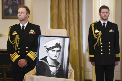 A picture of Ordinary Seaman Teddy Sheean is seen during an announcement in relation to the awarding of a Victoria Cross at a press conference at Government House in Canberra, Wednesday, August 12, 2020. (AAP Image/Lukas Coch) NO  ARCHIVING