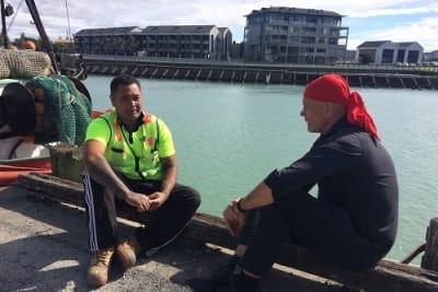 Peter FitzSimons in NZ with deportee Ko Haapu.jpg