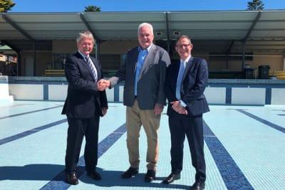 RCMB Media Release Murray Bridge Swimming Centre Masterplan Funding image Mayor Brenton Lewis Member for Hammond Adrian Pederick CEO Michael Sedgman web size