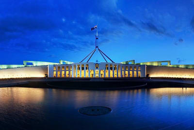 640px Parliament House Canberra Dusk Panorama 1