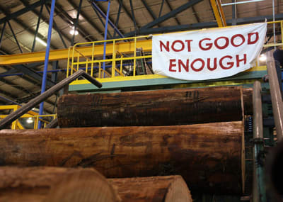 Supplied photo of members of environmental groups displaying a banner in protest of logging at the Ta Ann wood veneer mill in Smithton, in Tasmania