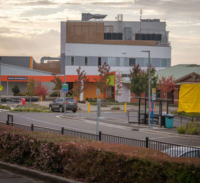 "The North West Regional Hospital is seen closed in Burnie, Tasmania, Tuesday, April 14, 2020. Health workers in northwest Tasmania, where a coronavirus outbreak has shut two hospitals, attended an ""illegal"" dinner party together, Australia"