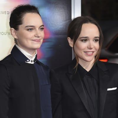 FILE - Emma Portner, left, and Ellen Page arrive at the world premiere of