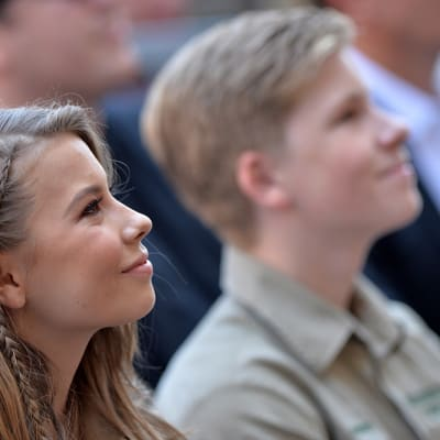 Bindi Irwin and Robert Irwin attend the ceremony honoring Steve Irwin with a posthumous star on the Hollywood Walk of Fame on April 26, 2018 in Los Angeles, California. Photo by Lionel Hahn/ABACAPRESS.COM.