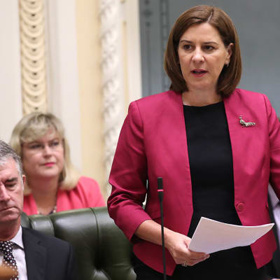 Queensland leader of the Opposition Deb Frecklington speaks during Question Time at Parliament House in Brisbane, Thursday, February 6, 2020. (AAP Image/Jono Searle) NO ARCHIVING