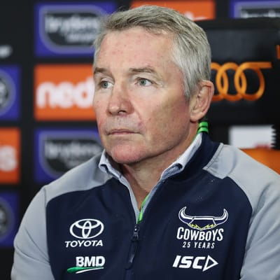 Cowboys coach, Paul Green speaks to the media following the Round 6 NRL match between the Wests Tigers and the North Queensland Cowboys at Campbelltown Stadium in Sydney, Saturday, June 20, 2020. (AAP Image/Brendon Thorne) NO ARCHIVING, EDITORIAL USE ONLY