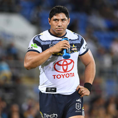 Jason Taumalolo of the Cowboys looks on during the Round 12 NRL match between the Gold Coast Titans and the North Queensland Cowboys at CBus Super Stadium on the Gold Coast, Sunday, June 2, 2019. (AAP Image/Dave Hunt) NO ARCHIVING, EDITORIAL USE ONLY