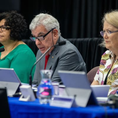 A supplied image obtained on Monday, November 4, 2019, of The Honourable Ronald Sackville AO QC, Chair of the Royal Commission addresses the Townsville hearing at the Royal Commission into Violence, Abuse, Neglect and Exploitation of People with Disability Townsville, Monday, November 4, 2019. (AAP Image/Supplied, Cameron Laird)NO ARCHIVING