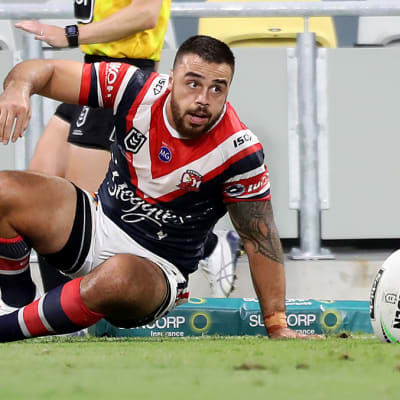 Matt Ikuvalu of the Roosters scores a try during the Round 9 NRL match between the North Queensland Cowboys and the Sydney Roosters at QLD Country Bank Stadium in Townsville, Thursday, July 9, 2020. (AAP Image/Cameron Laird) NO ARCHIVING, EDITORIAL USE ONLY