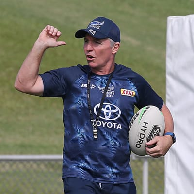 Coach Paul Green during a North Queensland Cowboys training session at Willows Sports Field in Townsville, Queensland, Thursday, May 13, 2020. (AAP Image/Supplied by North Queensland Cowboys) NO ARCHIVING