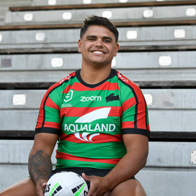 Latrell Mitchell poses for a photograph at Redfern Oval in Sydney, Monday, January 13, 2020. Latrell Mitchell has signed a one-year deal with South Sydney Rabbitohs. (AAP Image/Bianca De Marchi) NO ARCHIVING
