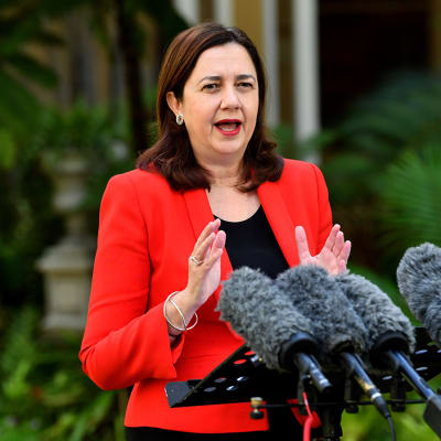 Queensland Premier Annastacia Palaszczuk is seen during a press conference at Queensland Parliament House in Brisbane, Tuesday, March 31, 2020. Premier Palaszczuk announced that Queensland had 55 more cases of coronavirus (COVID-19), taking the state