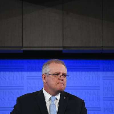 Australian Prime Minister Scott Morrison addresses the National Press Club in Canberra, Tuesday, May 26, 2019. (AAP Image/Lukas Coch) NO ARCHIVING