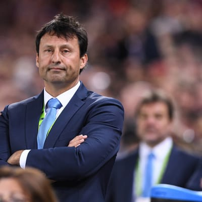 **FILE** A Wednesday, July 12, 2017 image reissued Friday, August 25, 2017 of NSW State of Origin coach Laurie Daley looking on during State of Origin Game 3 between the Queensland Maroons and NSW Blues, at Suncorp Stadium in Brisbane. Laurie Daley