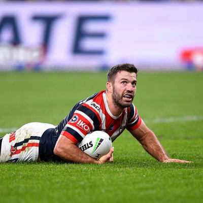 James Tedesco of the Roosters scores a try during the Round 5 NRL Match between the Canterbury Bulldogs and the Sydney Roosters at Bankwest Stadium in Sydney, Monday, June 15, 2020. (AAP Image/Dan Himbrechts) NO ARCHIVING, EDITORIAL USE ONLY