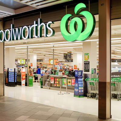 Sydney, Australia 04-10-2019. Entrance to Woolworths supermarket and BWS store. Woolworths is an Australian supermarket, retail and consumer services chain