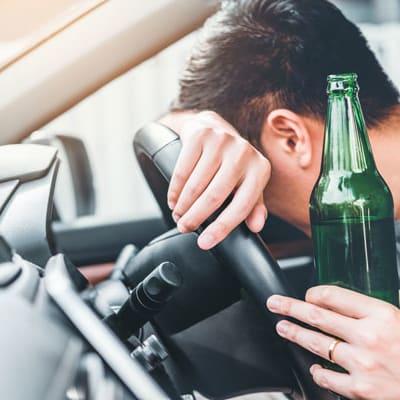 bigstock Drunk Man Driving A Car On The 279591673