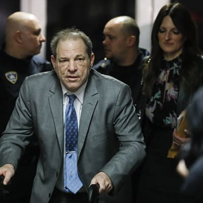 Harvey Weinstein leaves a Manhattan courthouse during his rape trial, Tuesday, Feb. 18, 2020, in New York. (AP Photo/John Minchillo)