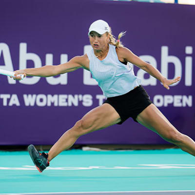 Yulia Putintseva of Kazakhstan in action against Sofia Kenin of the United States during her third round match at the 2021 Abu Dhabi WTA Women