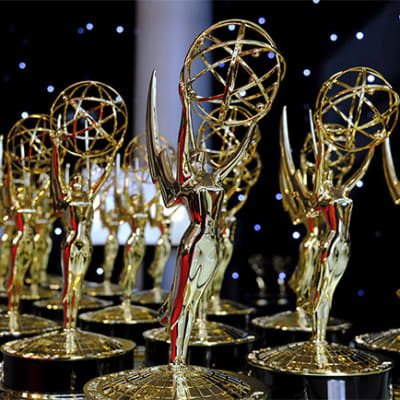 A general view of the trophy table at 73rd Emmy Awards at the JW Marriott on Sunday, Sept. 19, 2021 at L.A. LIVE in Los Angeles. (Photo Dan Steinberg/Invision for the Television Academy/AP Images)