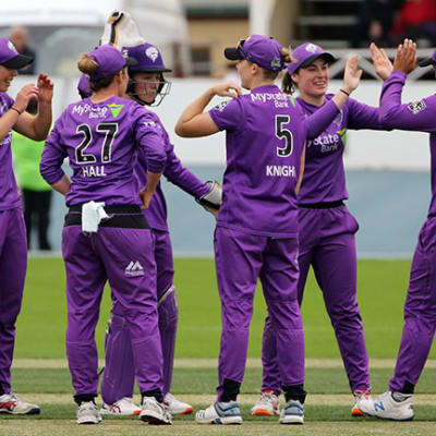 High fives for HurricaneÕs bowler Maisy Gibson after taking the wicket of Rachel Priest for 50 during the Women