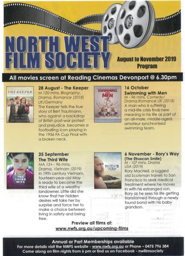 North West Film Society Aug-Nov 2019 Program - Community - 7AD