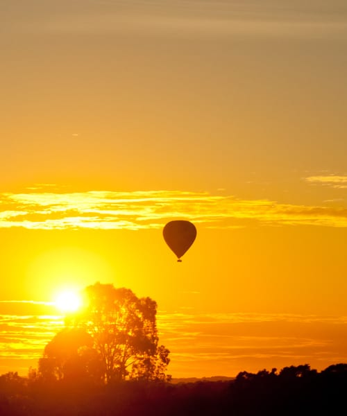 Sunset with balloon on Hunter Valley