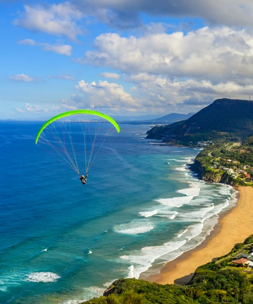 Paraglider over Bald Hill
