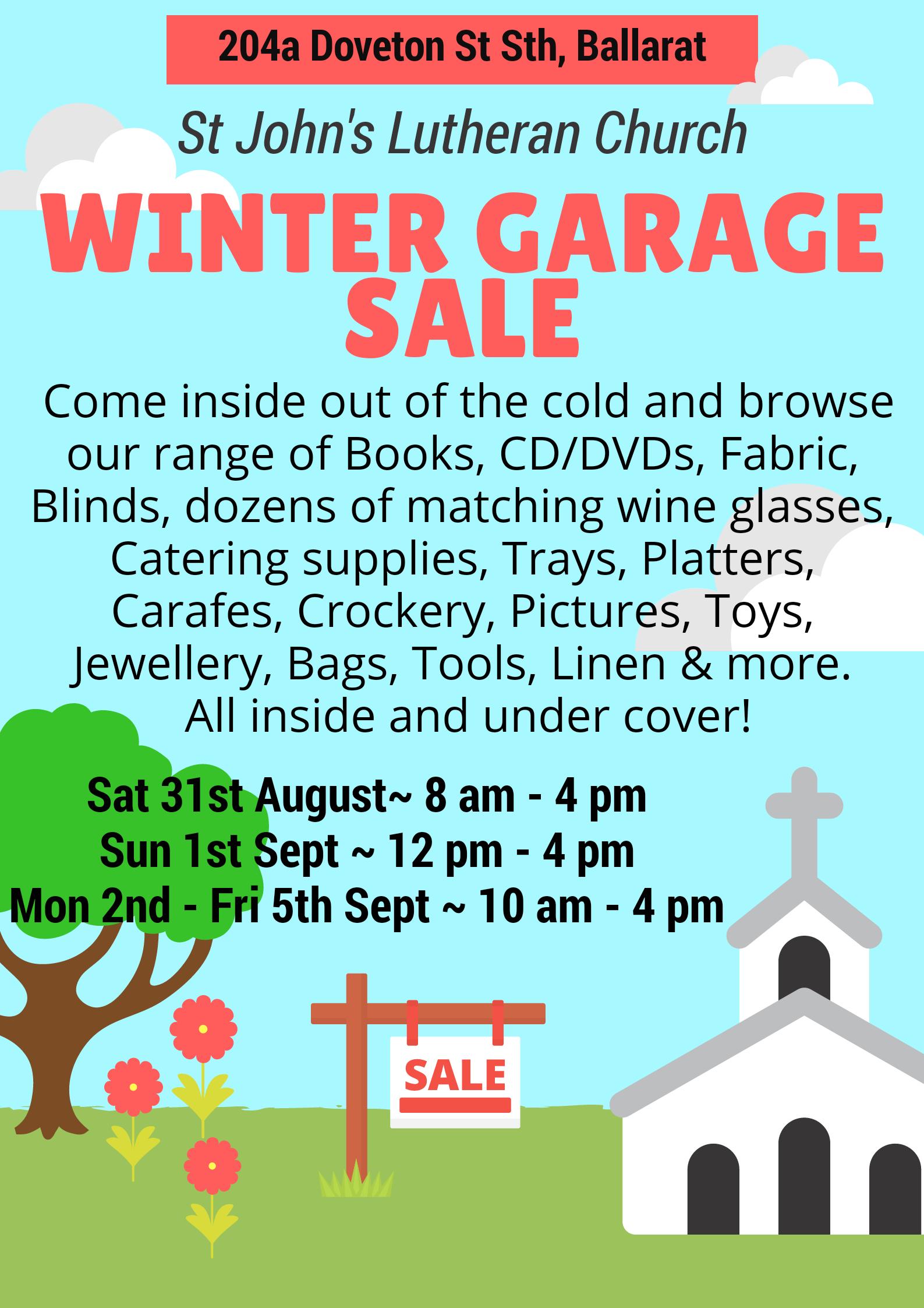 St John's Lutheran Church Winter Garage Sale - What's On - Power FM