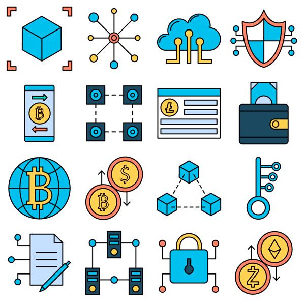 20 Blockchain Iconos